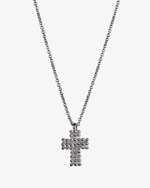 Necklace with Large Cross and Diamonds