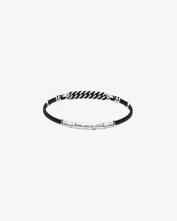 Silver bracelet with black crystal