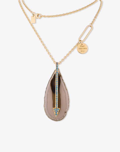 Agate and Zircon Arrow Necklace