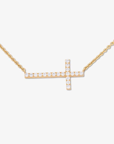 Necklace with Cross and Diamonds