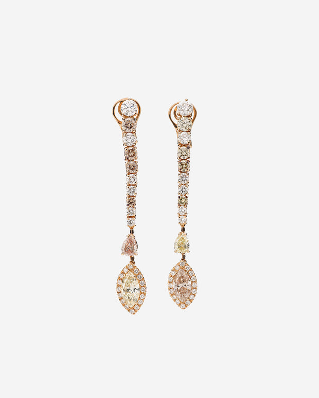 Pink Gold and Diamond Earring