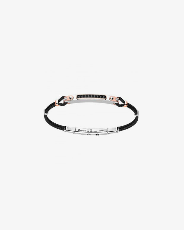 Silver bracelet with black crystal VII