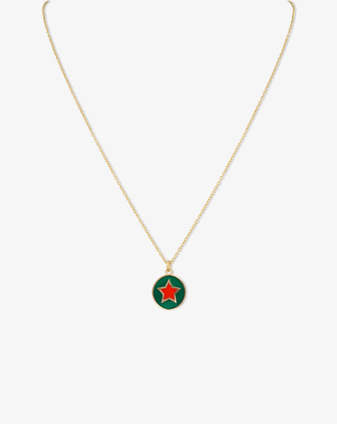 Mini Enamel Medal Necklace