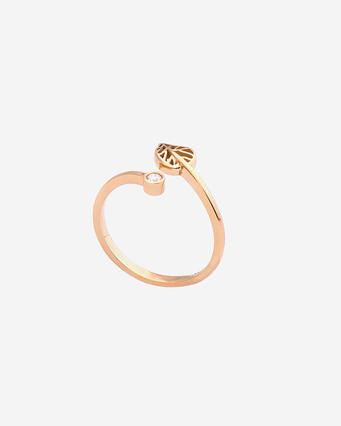 Yellow Gold with Diamond Leaf Ring