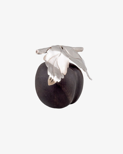 Plum in Wood with Leaves in Silver