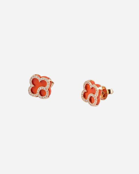Pink Gold, Diamond and Red Agate Earrings