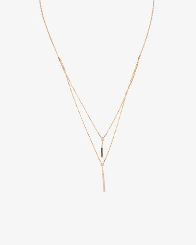 Yellow Gold Necklace with Double Diamond Pending
