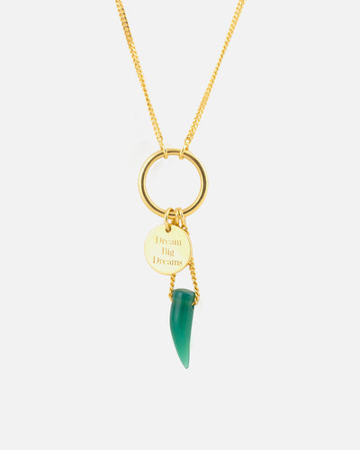Silver Gold and Green Onyx Necklace