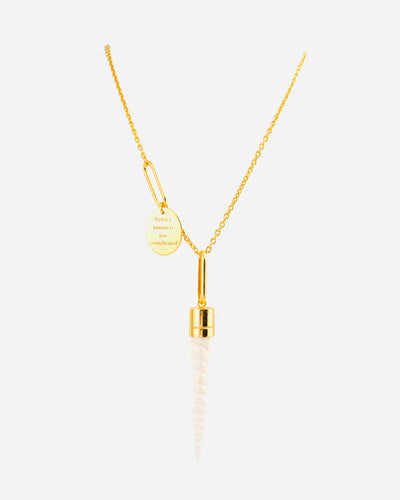 Silver Gold and Bone Necklace