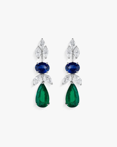 Diamod Sapphire and Emerald Earrings