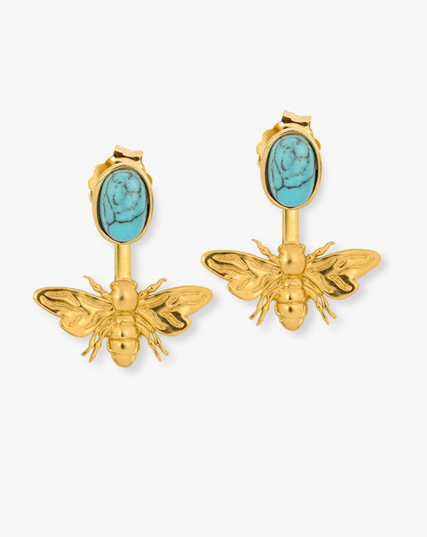 Bee Earrings with adicional stone earring