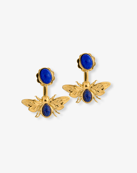 Bee Earrings with embodied Lápis-lazuli