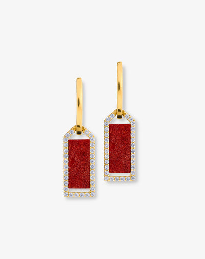 Coral earrings and zirconias