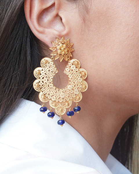 Filigree Lapis Lazuli Earrings