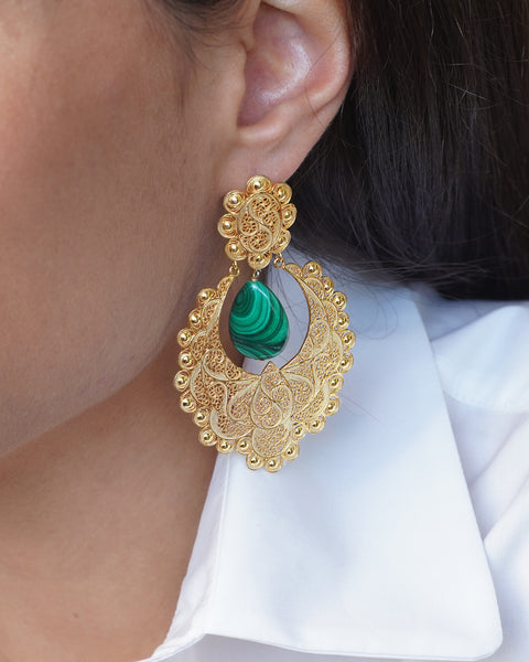 Filigree Malachite Earrings III