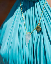 Silver Gold, Turquoise and Crystal Necklace