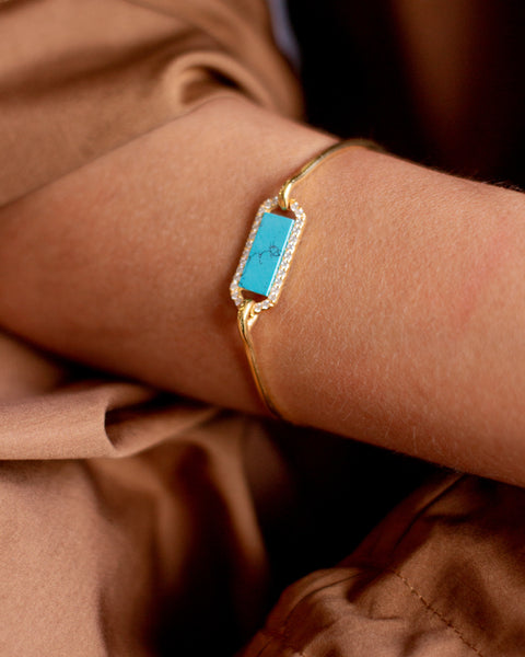 Silver Gold, Zirconias and Turquoise Bracelet