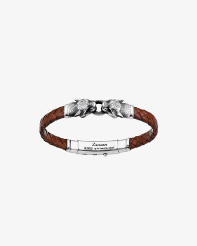 Silver leather bracelt with panthers