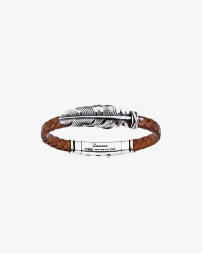 Silver leather bracelt with feather