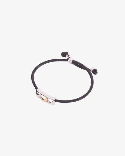 Black Leather Bracelet with gold details