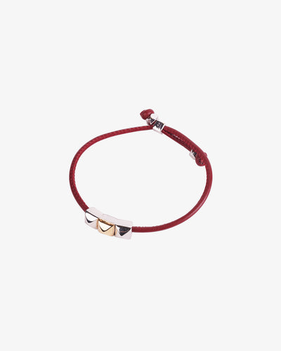 Red Leather Bracelet with gold details