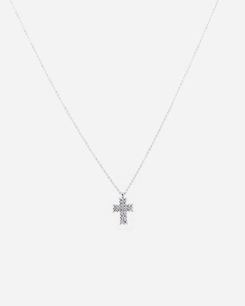 Tiny Cross White Gold Necklace