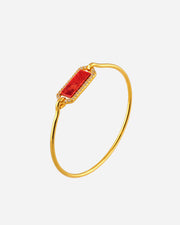 Silver Gold, Zirconias and Red Agate Bracelet