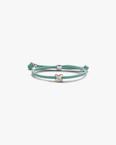 Aqua Leather Bracelet with Diamond Cross