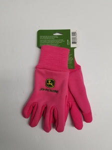 LP42388 John Deere Licensed Youth Light-Duty Cotton Grip Gloves Pink