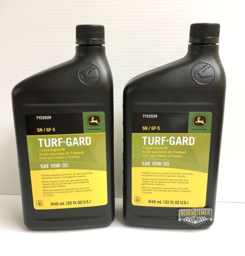TY22029 John Deere OEM 10W-30 Turf Gard 4 Cycle Engine Oil - 2 Quarts