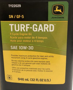 TY22029 John Deere OEM 10W-30 Turf Gard 4 Cycle Engine Oil - 4 Quarts