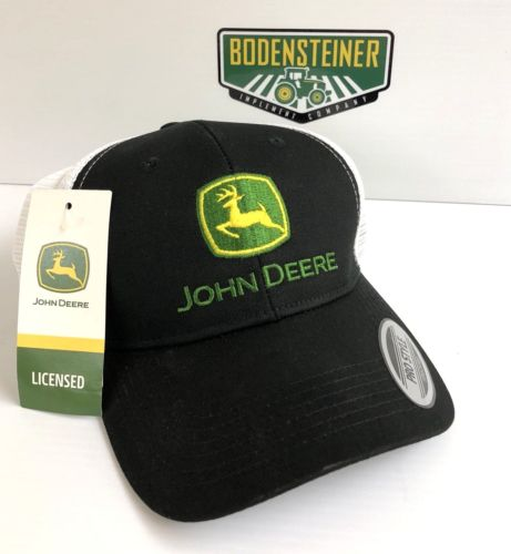 LP69107 John Deere Licensed Black & White Chino Soft Mesh Cap / Hat