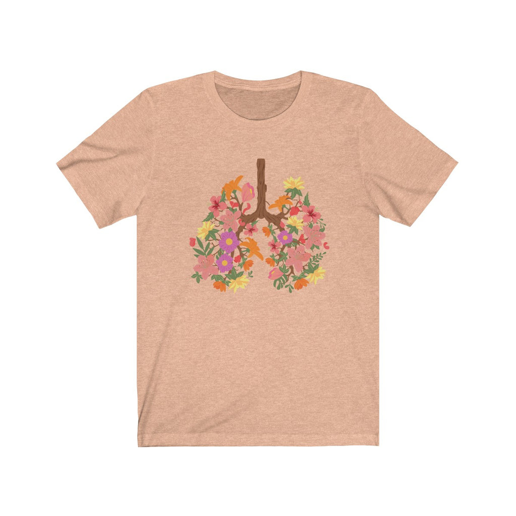 floral flower lungs t shirt heather peach