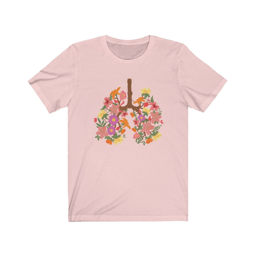 floral flower lungs t shirt pink