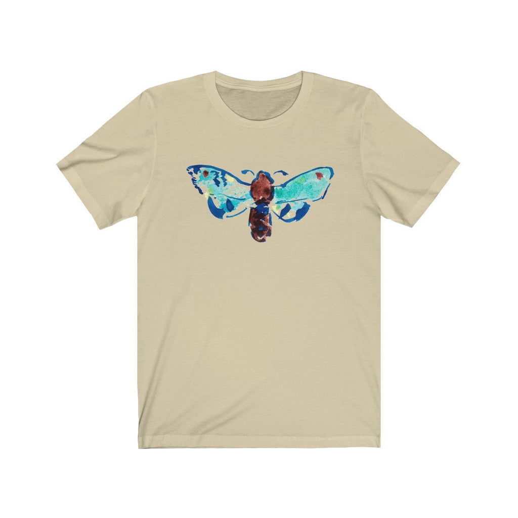 blue butterfly on cream t shirts