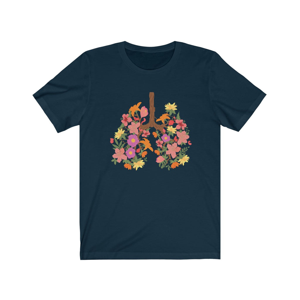 floral flower lungs t shirt navy