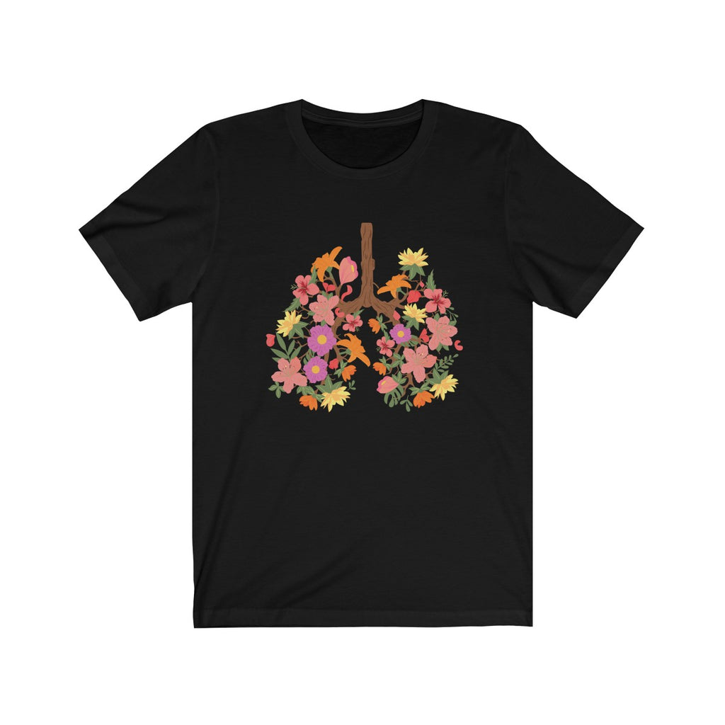 floral flower lungs t shirt cream black