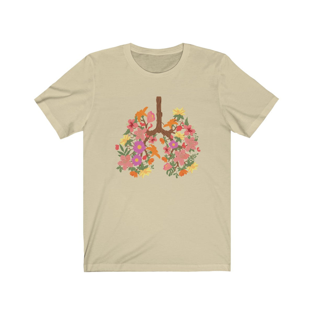 floral flower lungs t shirt cream