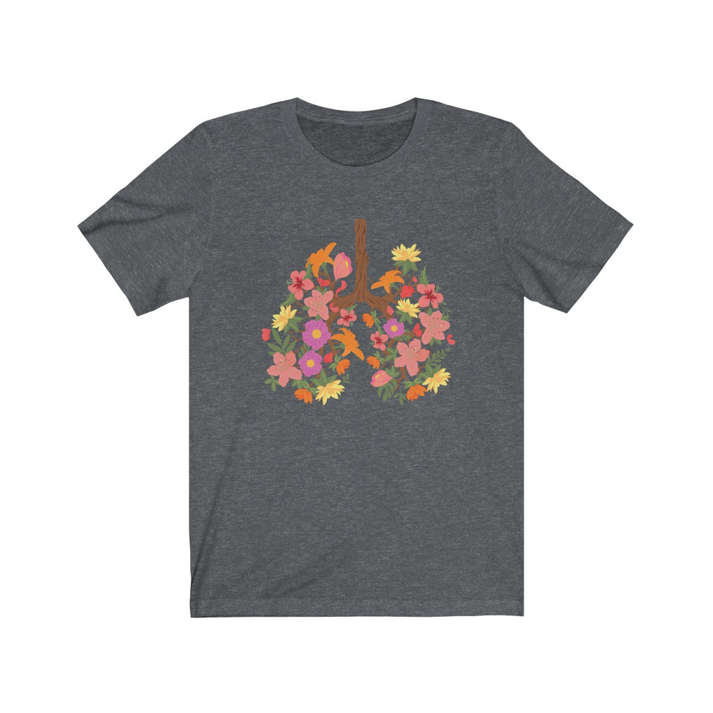 floral flower lungs t shirt dark gray