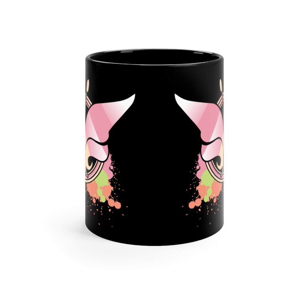 Pink Butterfly Art Black Coffee Mug