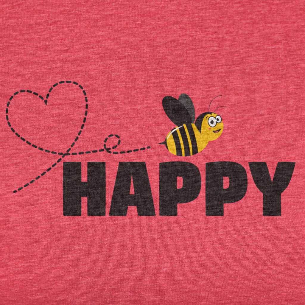 bee happy t shirt closeup red