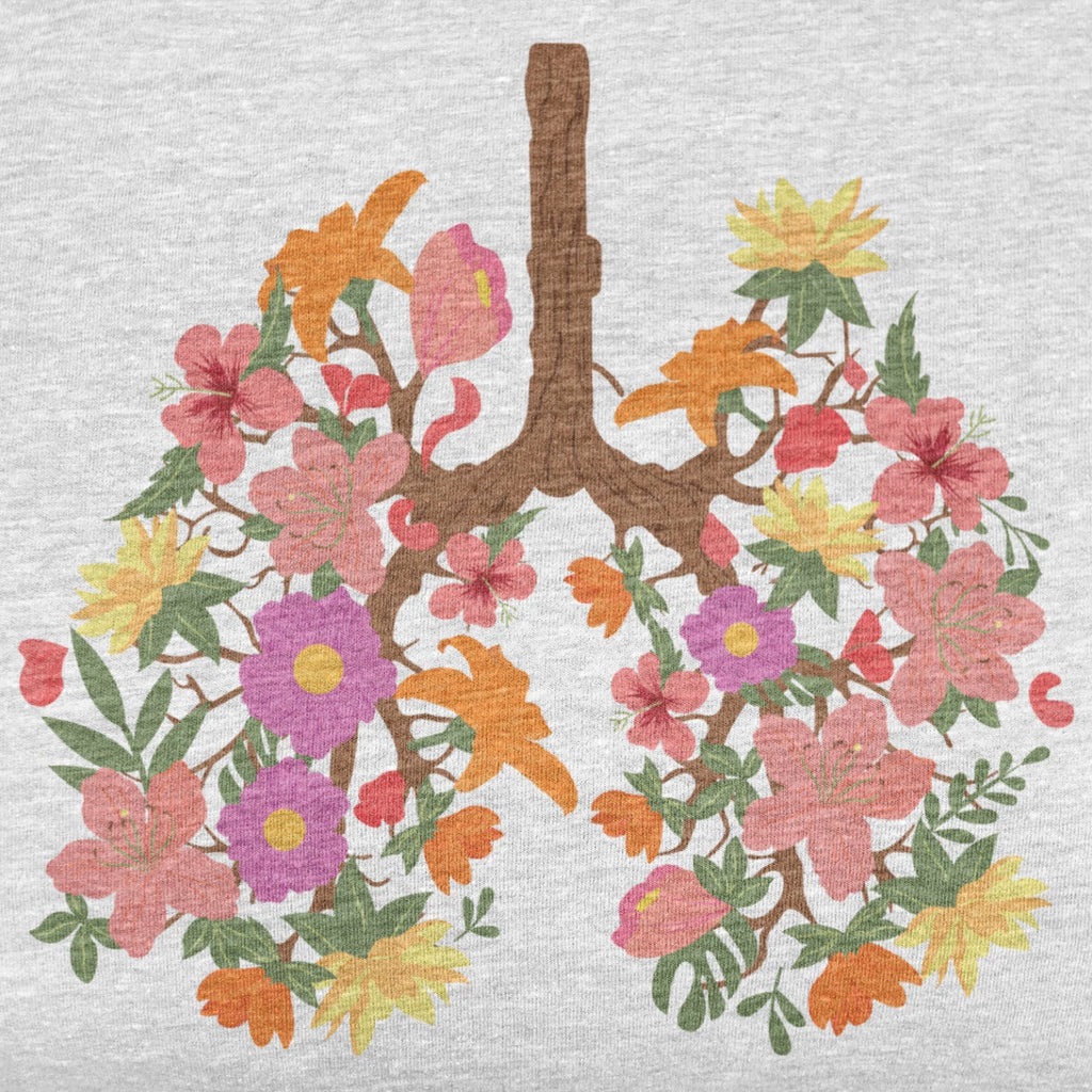 floral flower lungs t shirt design close up