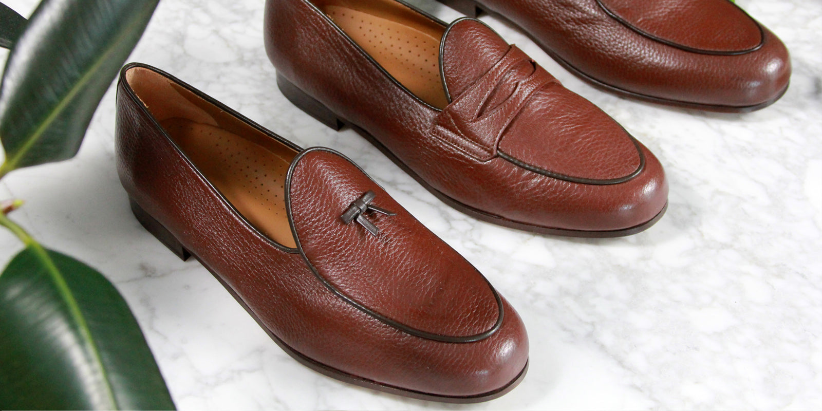 BOMBEROS Mens deerskin brown Belgian loafer collection