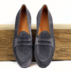 BOMBEROS Men's Grey Suede Belgian Penny Loafer - Toro Grafito