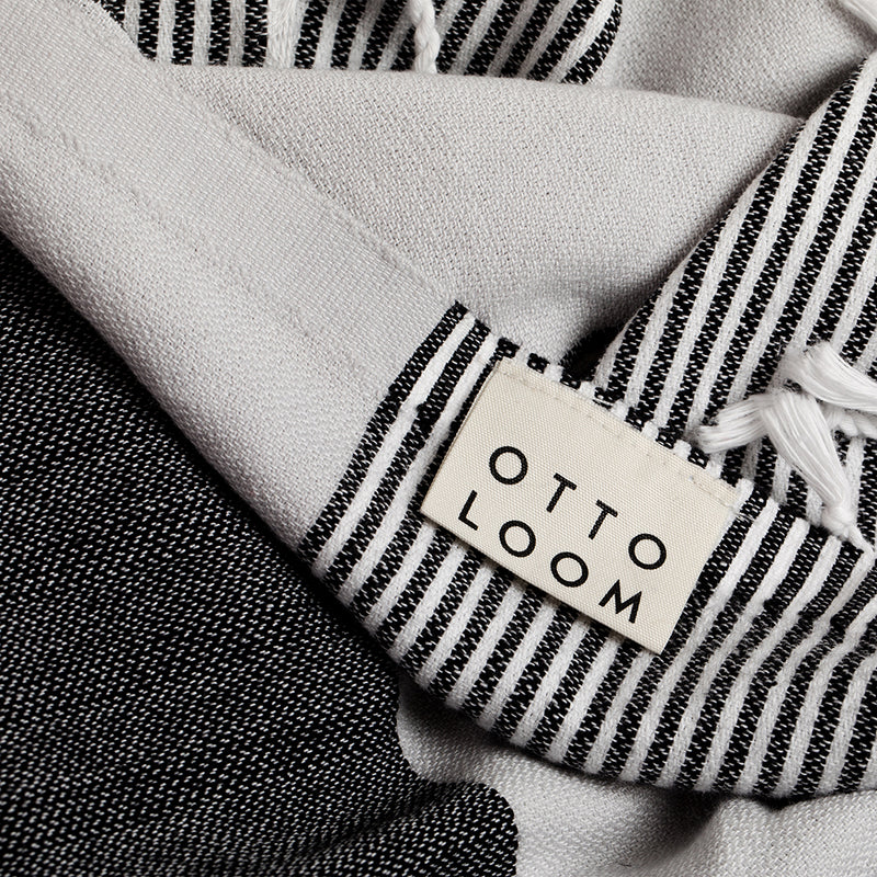 Ottoloom Organic Turkish Towel in Charcoal Stripe - Outdoor - Hunter Studio - New Zealand Lifestyle Store