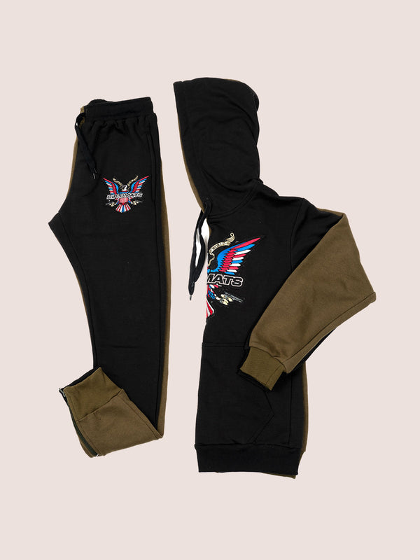 Split Color Sweat Suit BLK/OLIVE - DIPSET COUTURE