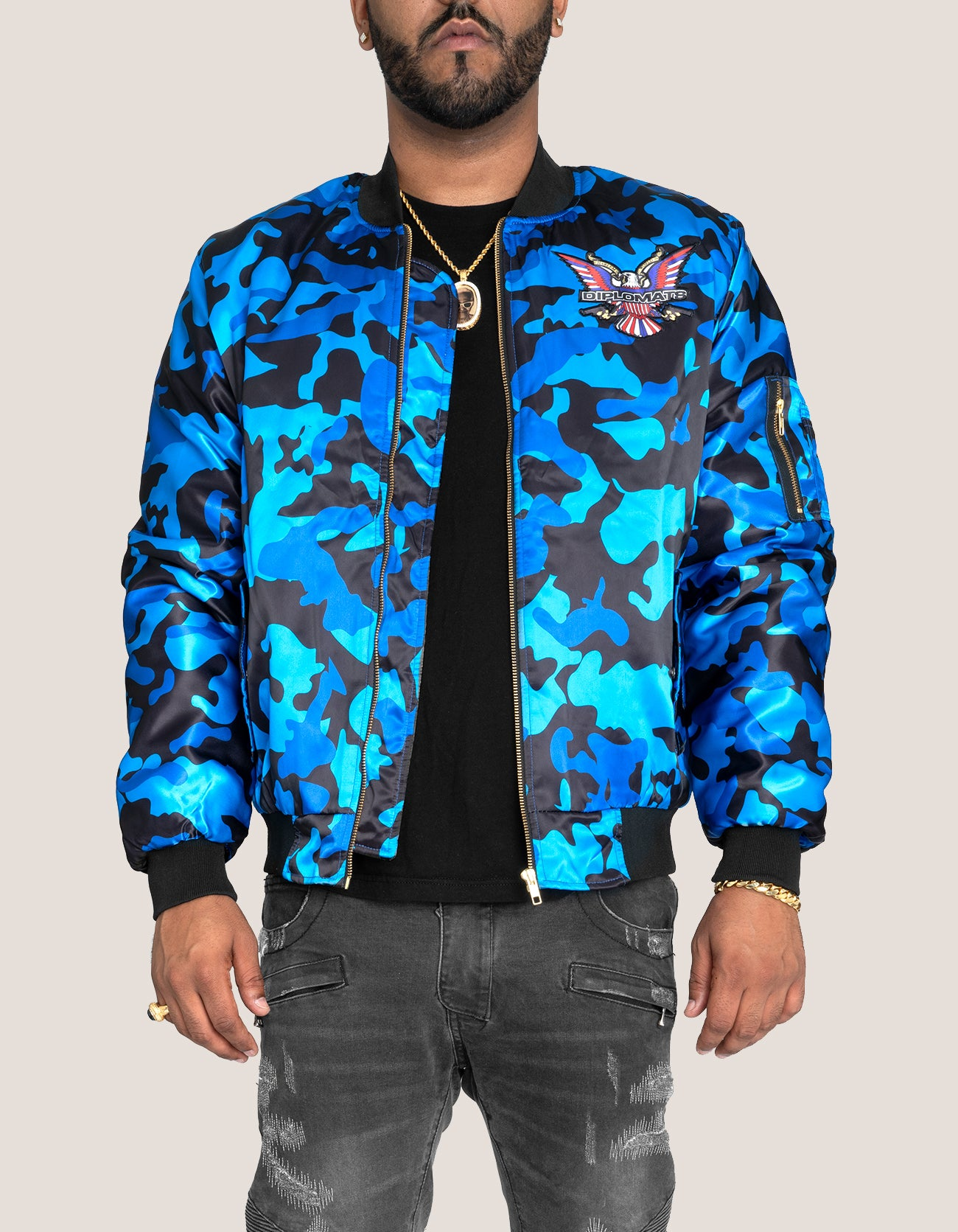 DIPSET COUTURE Camo Blue Bomber Jacket