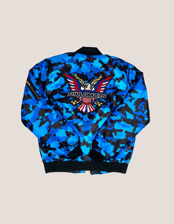 DIPSET COUTURE Camo Blue Bomber Jacket - DIPSET COUTURE