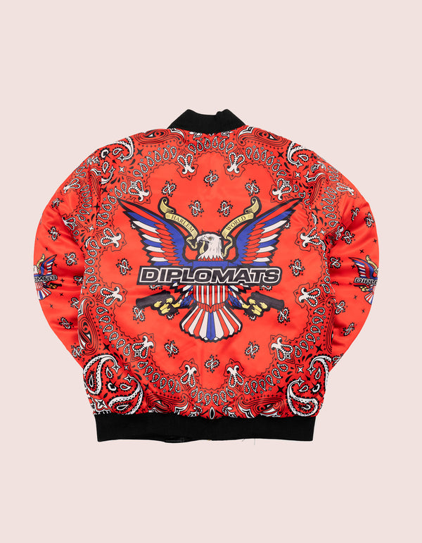 RED Bandana Bomber Jacket - DIPSET COUTURE