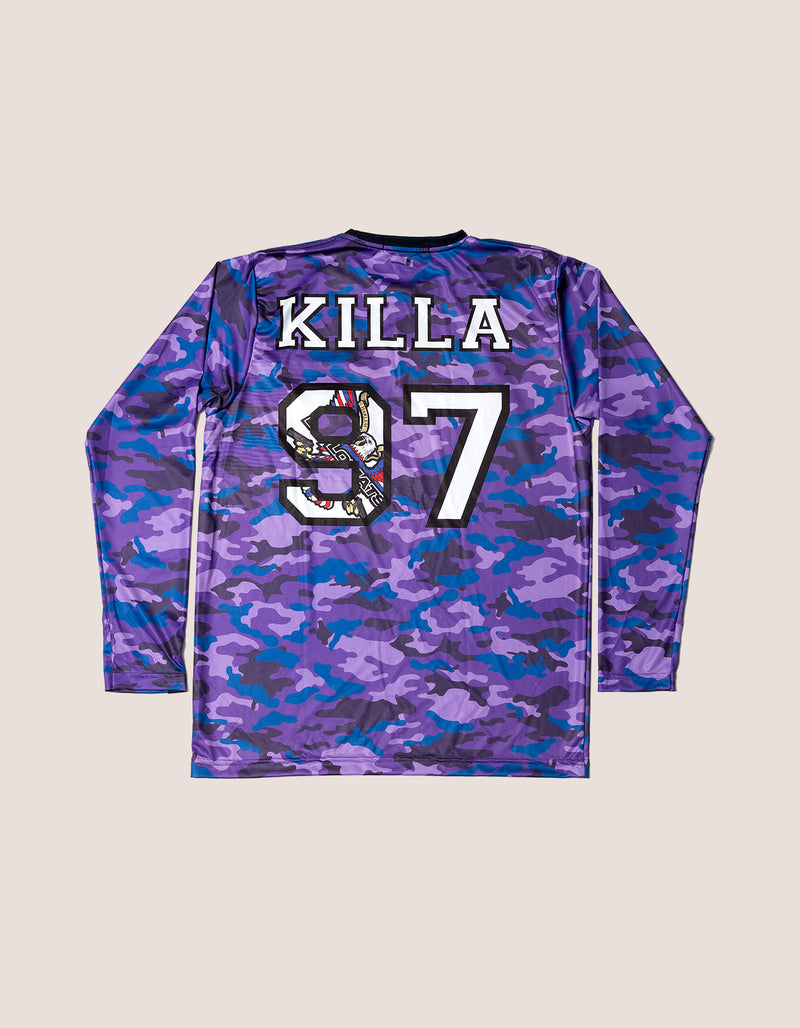 TRI x KiLLA Purple Camo Long Sleeve soccer jersey - DIPSET COUTURE
